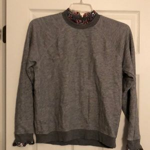J Crew Embellished Neck Sweatshirt. Large